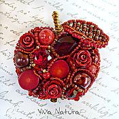 Украшения handmade. Livemaster - original item Brooch Very red apple - with natural stones, pearls and Swarovski. Handmade.