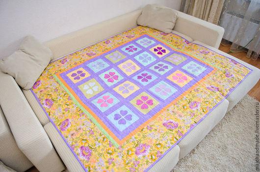 Пледы и одеяла ручной работы. Ярмарка Мастеров - ручная работа. Купить Цветочная поляна 2. Handmade. Покрывало, подарок, разноцветный
