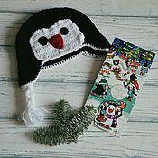 Работы для детей, ручной работы. Ярмарка Мастеров - ручная работа Шапка вязаная крючком Пингвин Чарли. Handmade.