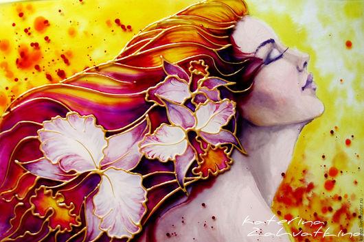 """Фантазийные сюжеты ручной работы. Ярмарка Мастеров - ручная работа. Купить Картина на стекле """"Орхидея - Королева бала!"""". Handmade. Комбинированный"""