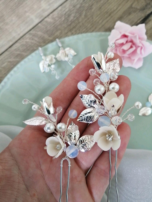 Шпильки для волос невесты Цветы в причёску Свадебные серьги Комплект, Украшения, Набережные Челны,  Фото №1