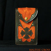 Фен-шуй и эзотерика handmade. Livemaster - original item Brown Leather tarot case -/- gothic style -/- Maltese cross. Handmade.