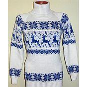 Одежда ручной работы. Ярмарка Мастеров - ручная работа Вязаный свитер с оленями и норвежским орнаментом Снежный. Handmade.