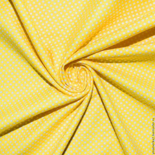 Шитье ручной работы. Ярмарка Мастеров - ручная работа. Купить Американский хлопок-фланель МЕЛКИЙ ГОРОШЕК на желтом фоне. Handmade.
