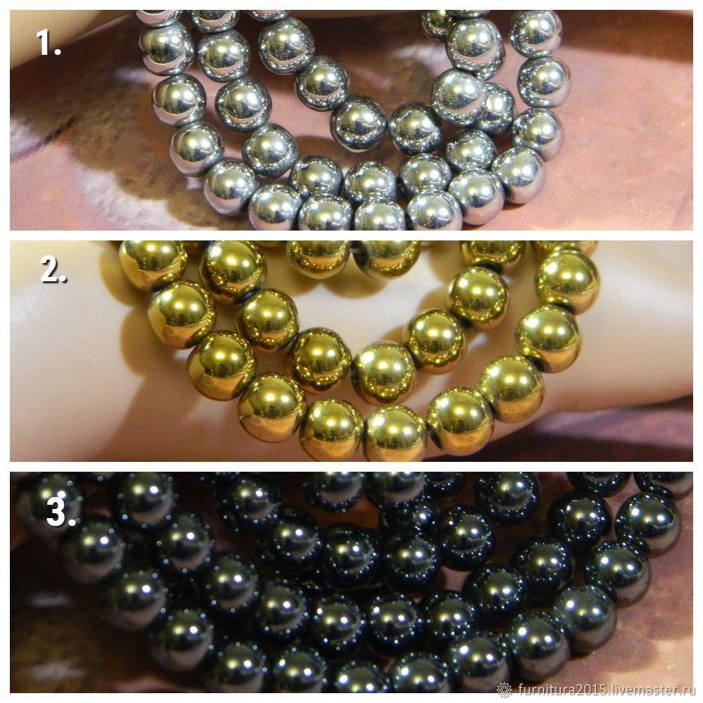Hematite beads 3 colors, 8 mm piece, Beads1, Saratov,  Фото №1
