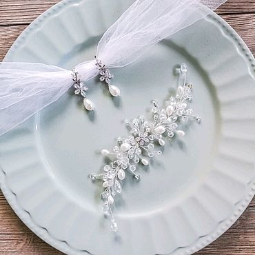 Свадебный салон ручной работы. Ярмарка Мастеров - ручная работа Свадебные украшения для волос невесты Серьги с жемчугом майорка. Handmade.