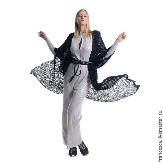 Кардиган удлиненный с капюшоном легкий и теплый из альпаки на шелке. Дизайнерская одежда ручной работы Cashmere Francesca