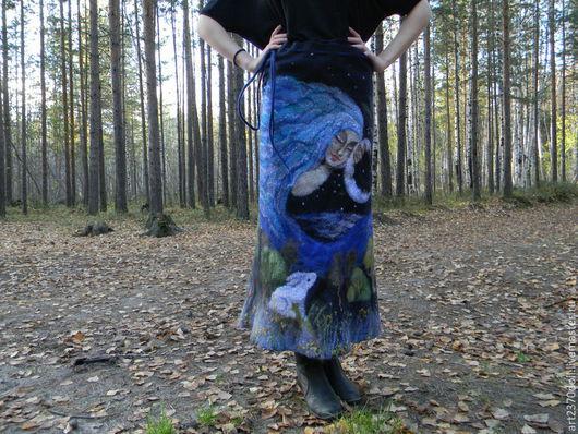 """Юбки ручной работы. Ярмарка Мастеров - ручная работа. Купить Юбка """"Волшебная ночь"""". Handmade. Черный, валяная юбка, вискоза"""