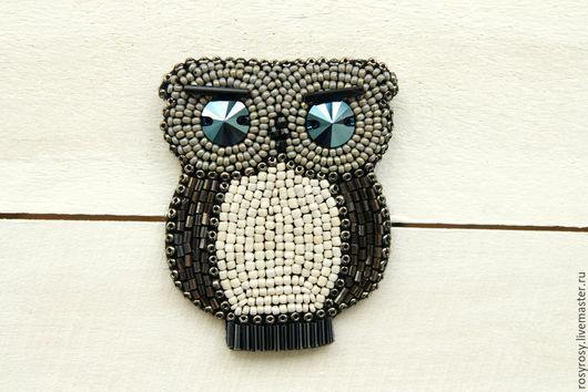Броши ручной работы. Ярмарка Мастеров - ручная работа. Купить Сова Брошь Птичка Сова Брошка из бисера 'Lil' Owl' Dark. Handmade.