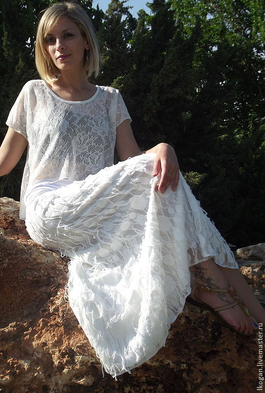 Юбки ручной работы. Ярмарка Мастеров - ручная работа. Купить Летняя длинная юбка Ажурная2. Handmade. Белый, пляжная одежда