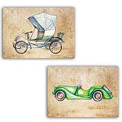 Открытки handmade. Livemaster - original item Retro car Cards 2 PCs. Handmade.