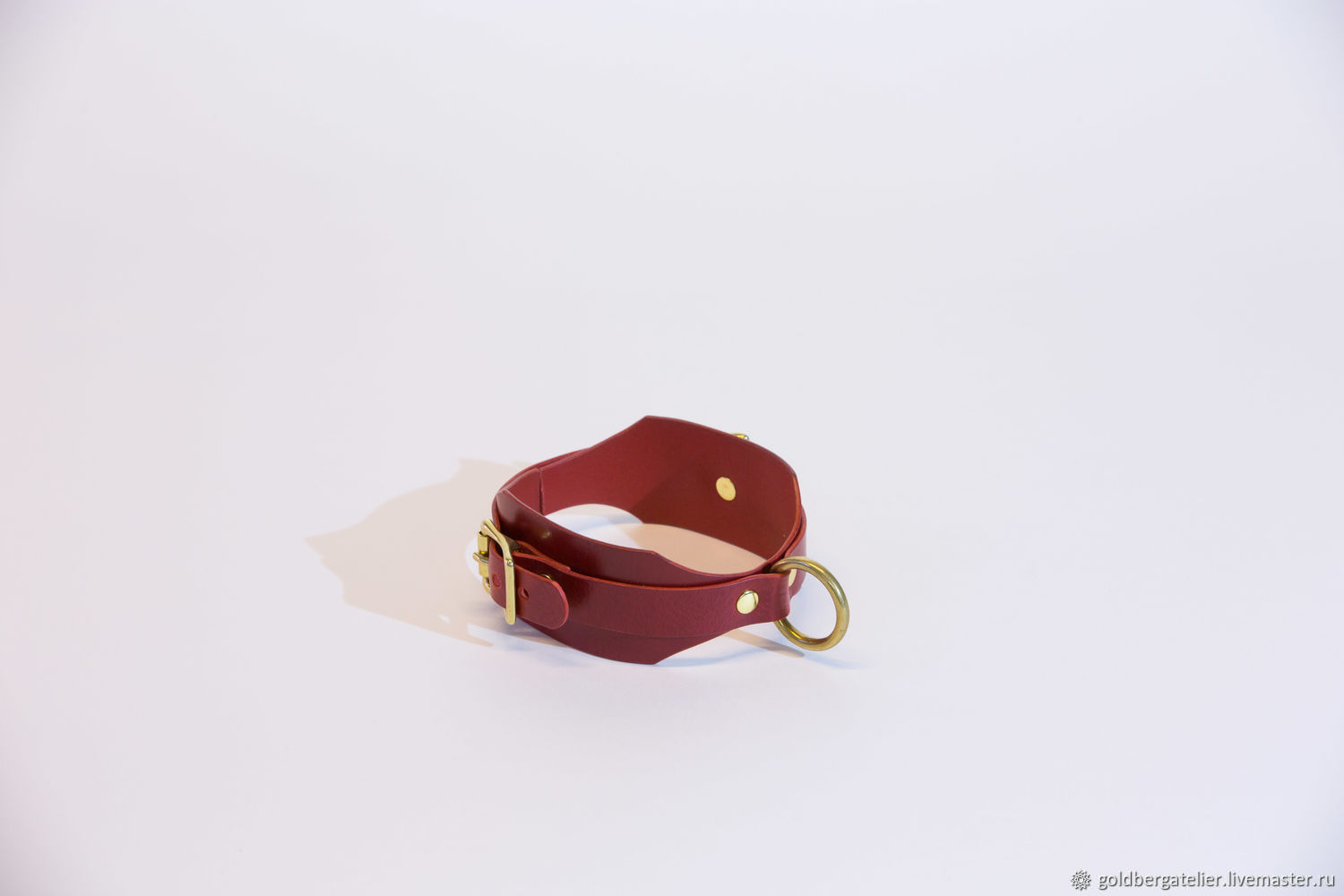 Red leather choker with ring, BDSM leather collar, Collar, St. Petersburg,  Фото №1
