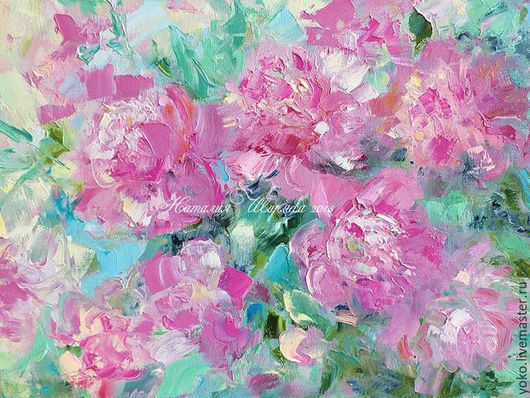 """Картины цветов ручной работы. Ярмарка Мастеров - ручная работа. Купить Картина с букетом """"Абстрактные Пионы"""". Handmade. Розовый"""