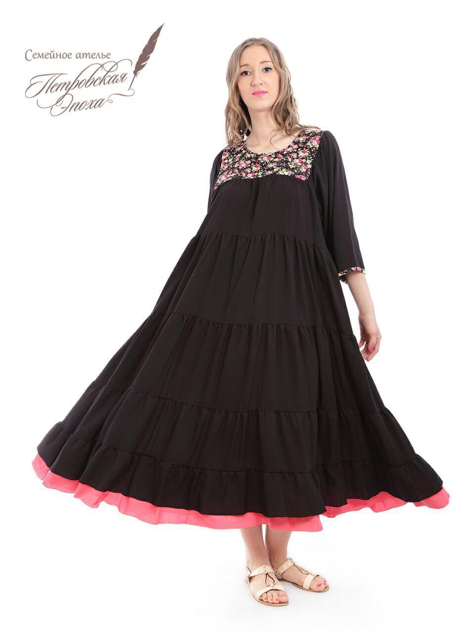 Платья ручной работы. Ярмарка Мастеров - ручная работа. Купить Ярусное  платье из штапеля