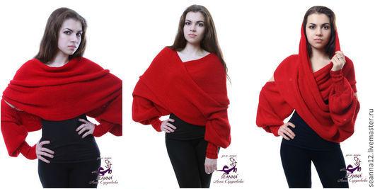 """Большие размеры ручной работы. Ярмарка Мастеров - ручная работа. Купить Шарф-свитер безразмерный вязаный """"Красный"""" в любом цвете, любой размер. Handmade."""