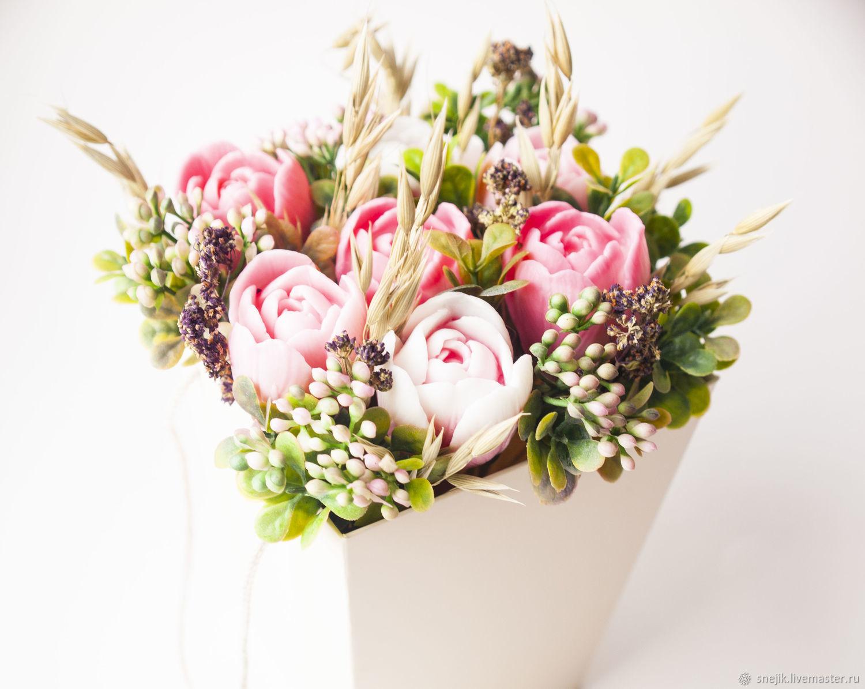 Букет из мыла розовые тюльпаны с душицей прованс, Мыло, Москва,  Фото №1