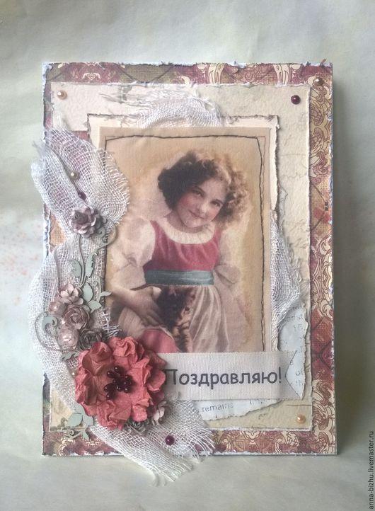 """Открытки для женщин, ручной работы. Ярмарка Мастеров - ручная работа. Купить Открытка """"Девочка с котенком"""". Handmade. Комбинированный, открытка для девушки"""