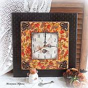 """Для дома и интерьера ручной работы. Ярмарка Мастеров - ручная работа часы настенные большие 35 см """"Осенние"""". Handmade."""