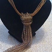 Украшения handmade. Livemaster - original item Necktie necklace with crystal beads and leather. Handmade.