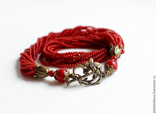 """Колье, бусы ручной работы. Ярмарка Мастеров - ручная работа. Купить Колье """"ЭНЕРГИЯ КРАСНОГО"""" красный коралл, бусы, ожерелье. Handmade."""