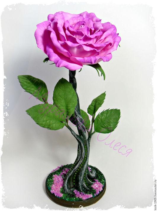 Цветы ручной работы. Ярмарка Мастеров - ручная работа. Купить Розочка из ревелюра (фоам, пластичная замша) на изящной гипсовой ножке. Handmade.