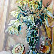 Картины и панно handmade. Livemaster - original item Oil painting Still Life with white lilies. Handmade.