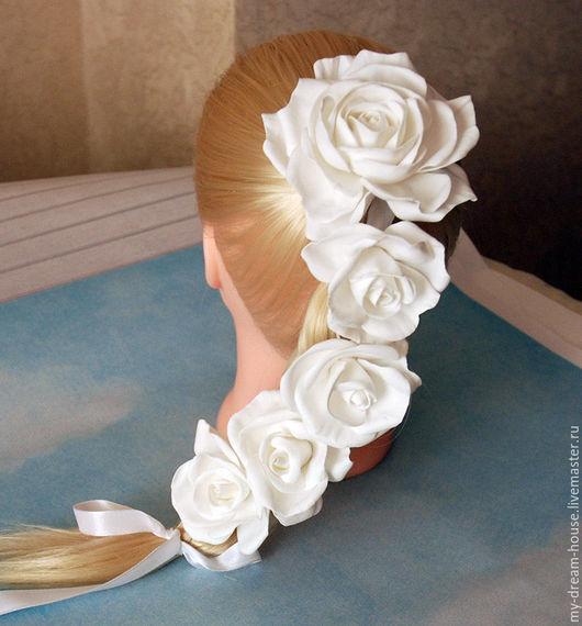 Лента в косу с розами из фоамирана