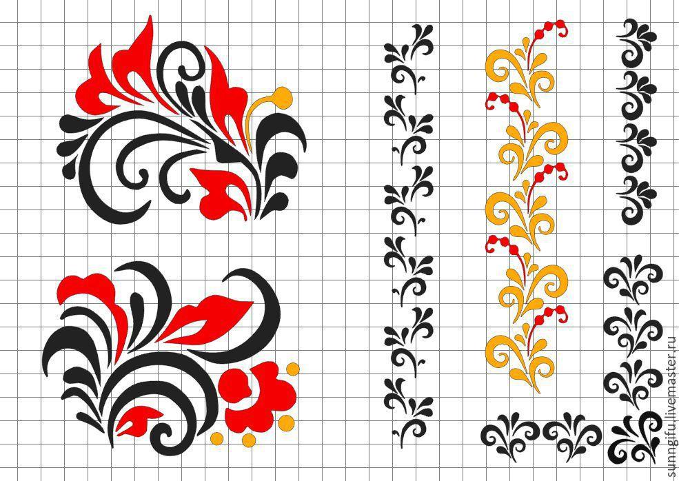 Шаблон узор для росписи