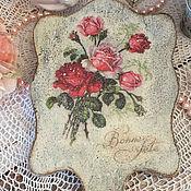 """Для дома и интерьера ручной работы. Ярмарка Мастеров - ручная работа Большое ручное зеркало """"Английские розы"""". Handmade."""