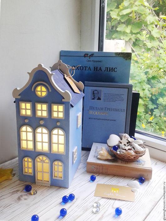Освещение ручной работы. Ярмарка Мастеров - ручная работа. Купить Sky. Сине-голубой светильник-домик. Ночник. Handmade. Голубой