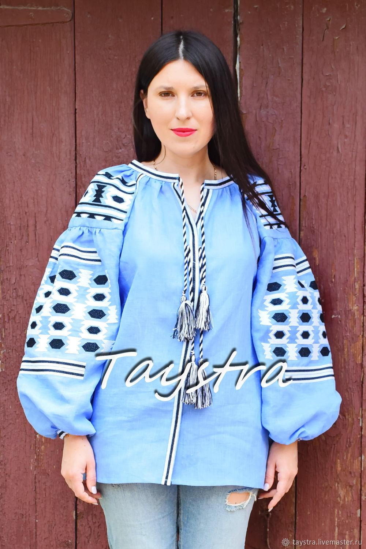 Blouse Vyshyvanka Embroidered, Blouse Blue Linen, Blouses, Chernovtsy,  Фото №1