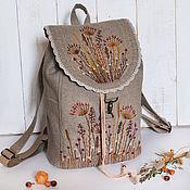 """Рюкзаки ручной работы. Ярмарка Мастеров - ручная работа Льняной рюкзак """"Осеннее разнотравье"""". Handmade."""