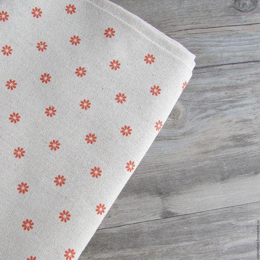 Ткань лен натуральный с рисунком Ромашка оранжевая.