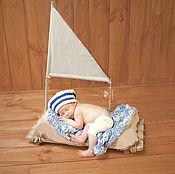 Работы для детей, ручной работы. Ярмарка Мастеров - ручная работа Шапочка Морячка для фотосессии новорожденных. Handmade.