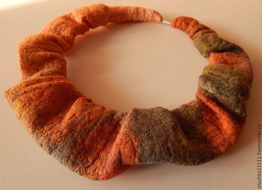 """Колье, бусы ручной работы. Ярмарка Мастеров - ручная работа. Купить колье """"Оранжевое небо"""". Handmade. Рыжий, колье"""