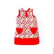 """Работы для детей, ручной работы. Ярмарка Мастеров - ручная работа Платье для девочки """"Красные яблочки"""" из хлопка. Handmade."""