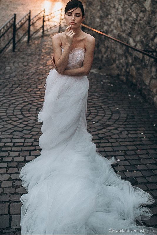 Luxury Wedding Dress with Cathedral Train, Tulle A-line Wedding ...