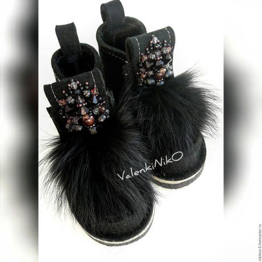 Обувь ручной работы. Ярмарка Мастеров - ручная работа. Купить Валеши дизайнерские черные. Handmade. Комбинированный, валенки ручной работы