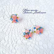 Украшения handmade. Livemaster - original item Decorating with flowers. Earrings and ring. Jewelry set.. Handmade.