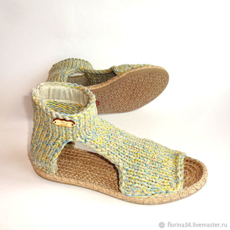 Boho knitted sandals, multicolour cotton, Sandals, Tomsk,  Фото №1