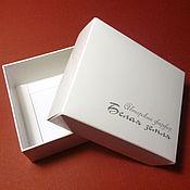 Материалы для творчества ручной работы. Ярмарка Мастеров - ручная работа Коробочка с логотипом белая с серебром. Handmade.