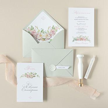 """Свадебный салон ручной работы. Ярмарка Мастеров - ручная работа Приглашение """"Классика"""", в конверте с сургучем. Handmade."""