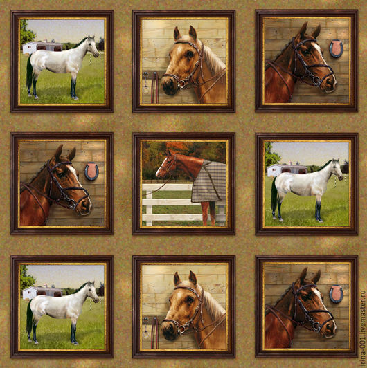 Шитье ручной работы. Ярмарка Мастеров - ручная работа. Купить Мир лошадей. Хлопок панель 60х110 см. Handmade. Панель
