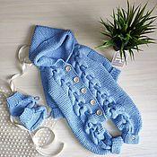 Одежда детская handmade. Livemaster - original item Cotton set of overalls and booties. Handmade.