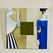 Для дома и интерьера ручной работы. Ярмарка Мастеров - ручная работа Декоративное зеркало в деревянной оправе, расписанной вручную.. Handmade.