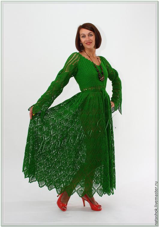 Платья ручной работы. Ярмарка Мастеров - ручная работа. Купить Изумрудная россыпь. Handmade. Зеленый, платье вязаное