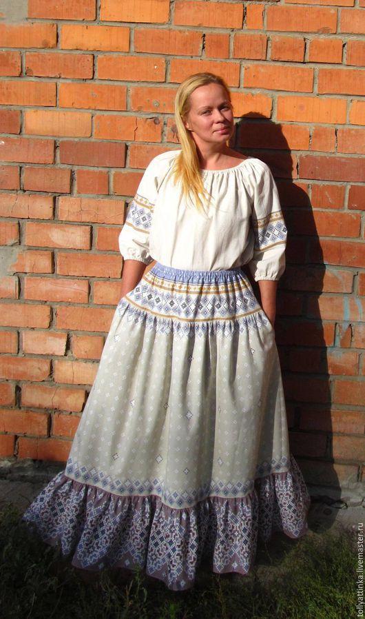 Юбки ручной работы. Ярмарка Мастеров - ручная работа. Купить Длинная юбка в фольклорном стиле. Handmade. Бежевый, Вышивка крестом