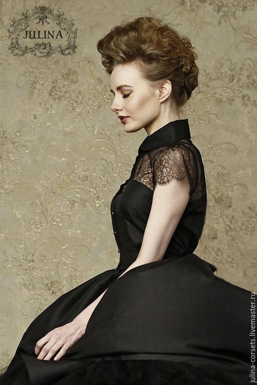 Платье черное коктельное вечернее из натурального шелка с кружевом купить заказать . Ручная работа luxe от JULINA