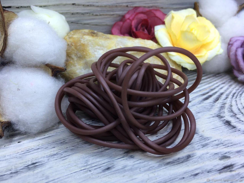 Шнур каучуковый полый 2 мм шоколад, Шнуры, Краснодар,  Фото №1