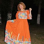 """Одежда ручной работы. Ярмарка Мастеров - ручная работа Платье в русском стиле """"Оранжевое настроение"""". Handmade."""